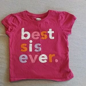 Old Navy pink sister shirt new cond. 18-24 mo
